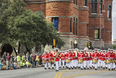 United State Marine Corps band marching in a parade Stock Image