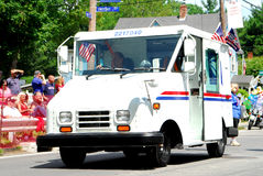 United State Postal Service. USPS truck is decorated and participates in the Bristol 4th of July parade in Bristol, RI Stock Photos