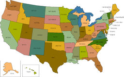 United states 01. A full color map of the united states of america with the state names called out Stock Photos