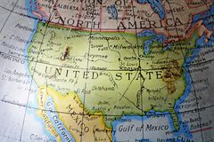United States. On an old and worn toy globe Stock Photography