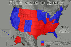 United States 2012 Election Results. United States of America map showing Electoral College results from the 2012 Presidential Election (Data source: USGS Stock Photo
