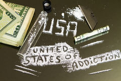The United States of Addiction.  America`s Epidemic Drug Crisis. America`s drug epidemic has been brought heavily to light in recent years and months and Royalty Free Stock Photos