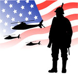 United states air force army. Vector background illustration of american US army forces, with soldier and helicopters in the sky Royalty Free Stock Photography