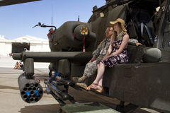 United States Air Force Helicopter. A spectator takes a break from the Thunder and Lightning Over Arizona Air Show at the Davis-Monthan Air Force Base in Tucson royalty free stock photo