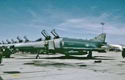 USAF McDonnell F-4E aircraft at Nellis AFB, Nevada for training in September 1990. United States Air Force McDonnell F-4E aircraft shown at Nellis AFB, Nevada stock images