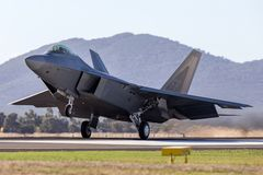 United States Air Force USAF Lockheed Martin F-22A Raptor fifth-generation, single-seat, twin-engine, stealth tactical fighter. Avalon, Australia - March 1, 2013 stock photo