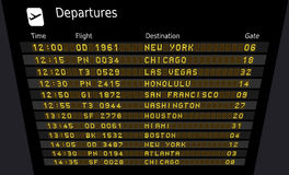 United States airports. Departure board - destination airports. Vector illustration - the letters and numbers for easy editing your own messages are embedded Stock Photo