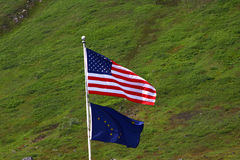 United States and Alaska Flags Stock Image