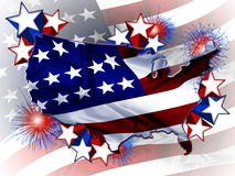United States of America. Shape of America with the U.S. flag, shooting stars and fireworks Stock Photography