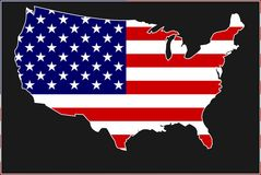 The United States of America. Flag and map Stock Photo