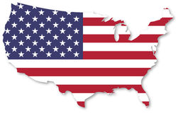 United States Of America. Map With Flag On White Background Stock Photography
