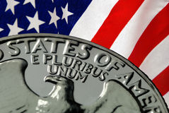 United States of America. Red, White, and Blue From American Flag and United States of America on Vintage, Retro, 1967 United States Quarter Royalty Free Stock Images