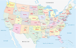 United states of america, administrative map Stock Photos
