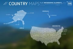 United States of America, Alaska and Hawaii Vector Maps. Flat vector maps collection with infographic elements royalty free illustration