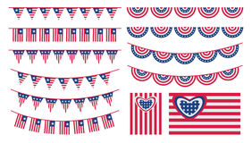 United States of America bunting and flags Stock Images