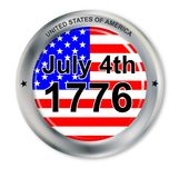 July 4 Button. A United States of America button with flag as a button with July 4th 1776 isolated on white vector illustration