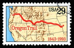 United States of America cancelled postage stamp showing an image of the anniversary of the Oregon Trail Stock Image
