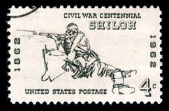 United States of America cancelled postage stamp  showing a rifleman at the Battle of Shiloh. London, UK, February 19 2018 - Vintage 1961 United States of Stock Photo