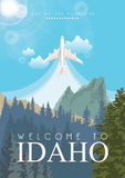 United States of America card with airplane. Idaho vector travel poster. United States of America card. Idaho. USA banner with airplane Royalty Free Stock Photography