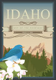 United States of America card with bear in retro style. Idaho vector travel poster. United States of America card. Idaho. USA banner with bear  in retro style Royalty Free Stock Photography