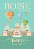 United States of America card with Boise and hot air balloons. Idaho vector travel poster. United States of America card. Idaho. USA banner with Boise and hot Stock Photography