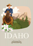 United States of America card with cowboy. Idaho vector travel poster. United States of America card. Idaho. USA banner with cowboy Royalty Free Stock Image
