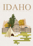 United States of America card with Idaho and Boise symbols. Idaho vector travel poster. United States of America card. Idaho. USA banner with Idaho and Boise Stock Image