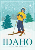 United States of America card with skier. Idaho vector travel poster. United States of America card. Idaho. USA banner with skier Royalty Free Stock Photography