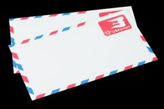 UNITED STATES OF AMERICA - CIRCA 1968: A old envelope for Air Mail. UNITED STATES OF AMERICA - CIRCA 1968: A old envelope for US Air Mail stock photo