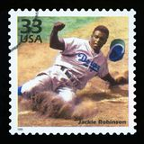 US Postage stamp. UNITED STATES OF AMERICA - CIRCA 1999: a postage stamp printed in USA showing an image of Jackie Robinson, CIRCA 1999 stock photography