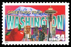 US Postage Stamp. UNITED STATES AMERICA - CIRCA 2002: a postage stamp printed in USA showing an image of the Washington state, circa 2002 Stock Image