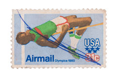 UNITED STATES OF AMERICA - CIRCA 1980: A stamp printed in the Un. Ited States of America shows image celebrating the 1980 Olympics in Moscow, series royalty free stock images