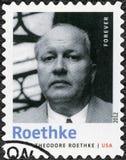 USA - 2012: shows Theodore Huebner Roethke 1908-1963, American. UNITED STATES OF AMERICA - CIRCA 2012: A stamp printed in USA shows Theodore Huebner Roethke 1908 Royalty Free Stock Photo