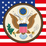 United States of America coat of arm and flag Stock Photo