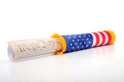 United States of America Constitution and USA flag Royalty Free Stock Photo