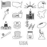 United states of america country theme outline icons set eps10 Royalty Free Stock Photos