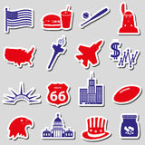 United states of america country theme stickers set eps10 Royalty Free Stock Images