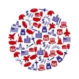 United states of america country theme symbols icons set in circle eps10 Stock Photo