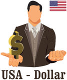 United States of America currency symbol dollar representing money and Flag. Vector design concept of businessman in suit with his open hand over with currency Royalty Free Stock Images
