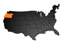 United States of America, 3d black map, with Oregon state highlighted in orange. Royalty Free Stock Images