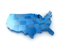 United states of america. 3D map of the united states of America Royalty Free Stock Photos