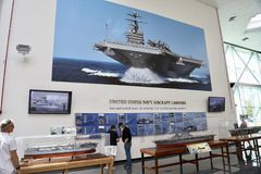 Navy Aircraft Carrier Exhibit in a Museum. United States of America Department of the Navy Aircraft Carrier Display in a museum.  Pensacola, Florida Stock Photos