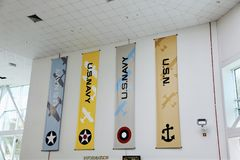 Naval Aviation Streamers. United States of America Department of the Navy Aviation Banners on a wall Stock Photo