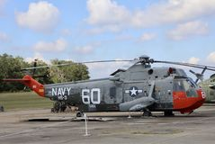 Navy Helicopter on Museum display. United States of America Department of the Navy Helicopter on display outside of a museum Stock Images