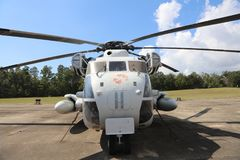 Marine Corps Helicopter with Battle Emblems. United States of America Department of the Navy Marine Corps Helicopter with red battle emblems on display at a Royalty Free Stock Photo