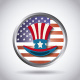 United states of america design. Button with usa top hat icon over white background. colorful design. vector illustration stock illustration