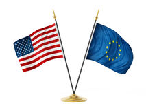 United States of America and European Union desktop flags. 3D illustration Royalty Free Stock Photos