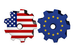 The United States of America and European Union working together Royalty Free Stock Photos