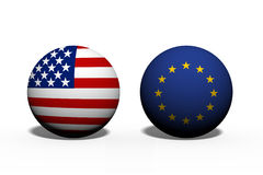 The United States of America and European Union working together Stock Photo