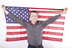 United States of America fan. Man holding flag of USA Stock Photo